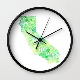 Typographic California - Green Watercolor map Wall Clock