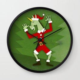 Santa Unicorn In the House Wall Clock