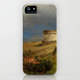 Via Appia with the Tomb of Caecilia Metella in Roman Italian Countryside by Oswald Achenbach iPhone Case