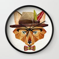 mr fox Wall Clocks featuring mr. fox by Manoou