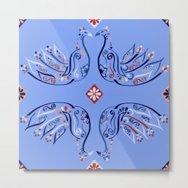 Moroccan Tile Bird Pattern Metal Print