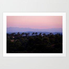Sunset over the Pyrenees (Pyrénées) from Aragon, France Art Print
