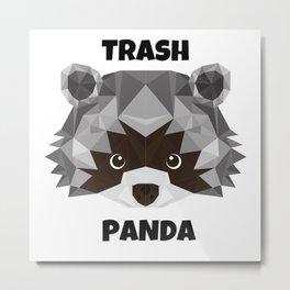 Trash Panda. cartoon cute funny retro raccoon face Metal Print