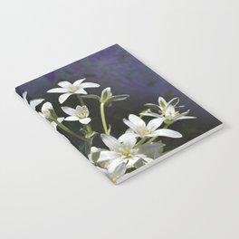 White 6 Petal Star Wildflowers Notebook