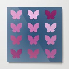 Butterflies in Purple Ombre with Dark Blue Background Metal Print