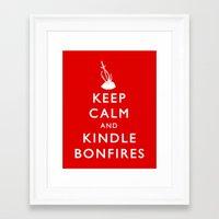 kindle Framed Art Prints featuring Keep Calm & Kindle Bonfires by Zach Shonkwiler