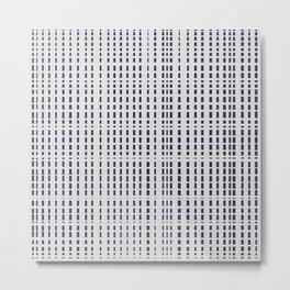 Dark Blue Dotted Lines on light grey Metal Print