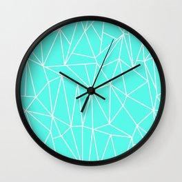 Geometric Cobweb (White & Turquoise Pattern) Wall Clock