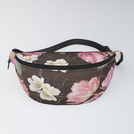 Bouquets of pink and white lush roses, tulips and jasmine. Fanny Pack