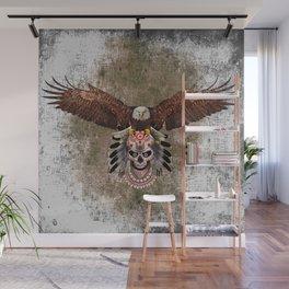 Indian Native Flaying Eagle Sugar Skull Wall Mural