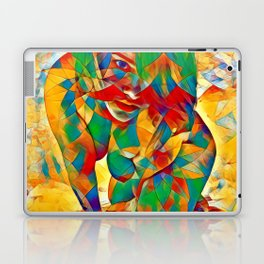 3334s-SRC Abstract Woman with Blue Eyes Rendered in Color and Style Laptop & iPad Skin
