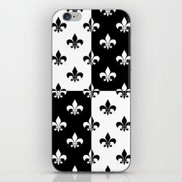Black & white royal lilies (chessboard) iPhone Skin