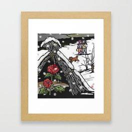 Peonies in snow Framed Art Print