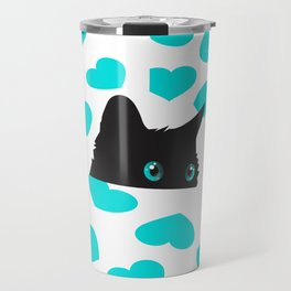 Cat on Blanket with Hearts Travel Mug