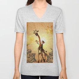 Funny cartoon giraffe  Unisex V-Neck