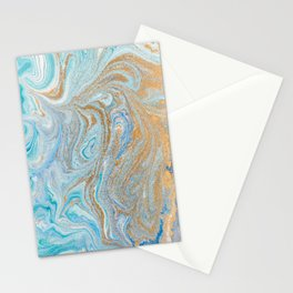 Marble turquoise gold silver Stationery Cards