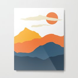 Mountains Landscape Mid Century N21001 Metal Print