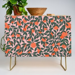Oranges and Leaves Pattern - Pink Credenza