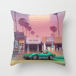 Synthwave Sunset Drive Throw Pillow