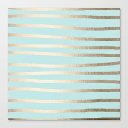 Simply Drawn Stripes White Gold Sands on Succulent Blue Canvas Print