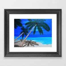 White sand beach  Framed Art Print