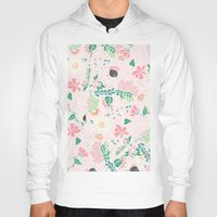 preppy Hoodies featuring Modern pastel floral handdrawn blush pink illustration by Girly Trend