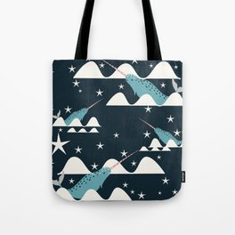 narwhal in ocean blue Tote Bag