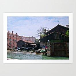 Boat work shop Venice Art Print