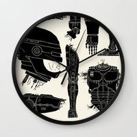 robocop Wall Clocks featuring Decommissioned: Robocop by Josh Ln