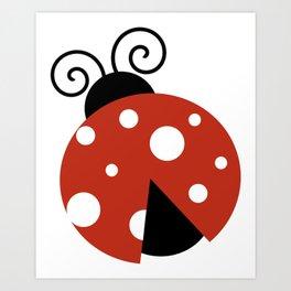 Ladybug, Ladybird, Lady Beetle - Red Black White Art Print