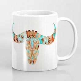 Water Buffalo Skull – Blue & Brown Coffee Mug