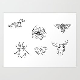 Nature Tattoo Flash Designs Art Print