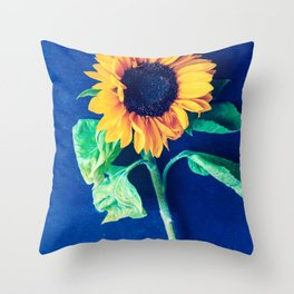 A decorative sunflower on the blue background Throw Pillow