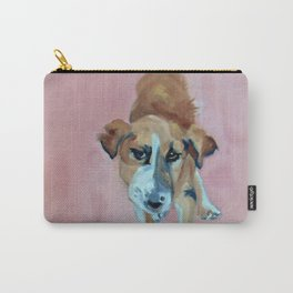 A Dog in Pink Portrait Carry-All Pouch
