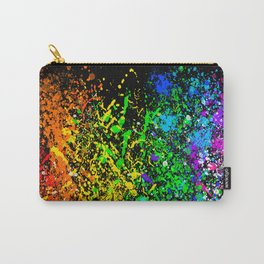 Black Rainbow Color Splatter Carry-All Pouch