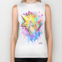 playstation Biker Tanks featuring Original - CLOUD STRIFE - Watercolor Painting - Playstation by Jonny Clingan