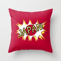 japan Throw Pillows featuring Japan by mailboxdisco