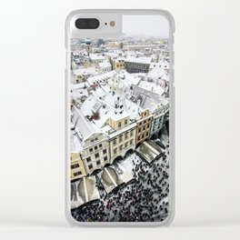 Snowy roofs of Old Town.. Clear iPhone Case
