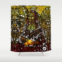 mona lisa Shower Curtains featuring #MONA #LISA by JOHNF