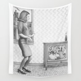 Girl with TV Wall Tapestry