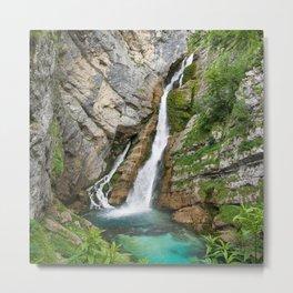 Savica Waterfall Photography Nature Metal Print