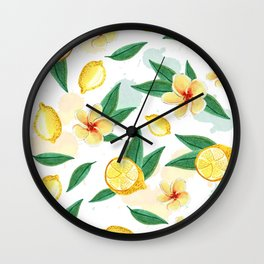 Floral Lemon Splash Wall Clock