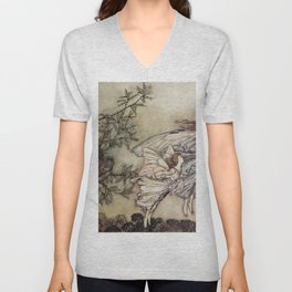 """Fairies Tiff with the Birds"" by Arthur Rackham Unisex V-Neck"