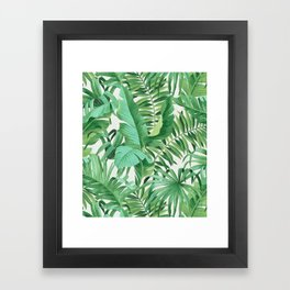 Green tropical leaves III Framed Art Print