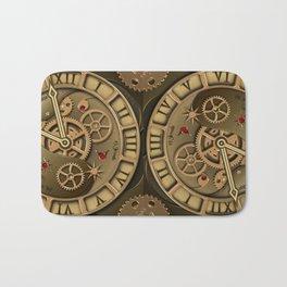 Steampunk clock gold Bath Mat