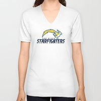 nfl V-neck T-shirts featuring San Diego Starfighters - NFL by Steven Klock