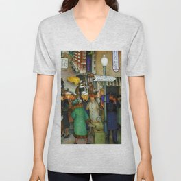 Ferry to Oakland San Francisco City Street Scene portrait painting WPA mural Unisex V-Neck