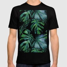 Tropical Palm Leaves Classic MEDIUM Black Mens Fitted Tee