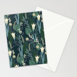 Wonderful Mid-Century Style Evening Lily And Wildflower Pattern Stationery Cards