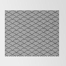 Black White Mermaid Scales Minimalist Throw Blanket
